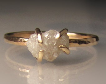 Raw Diamond Engagement Ring, 14k Yellow Gold Rough Diamond Ring, White Raw Diamond Ring