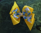 Ready To Ship,Yellow Duck Boutique Hair Bow, Toddler Hair Bow, Birthday Hair Bow, Yellow and Blue Hair Bow, Rubber Duck Hair Bow