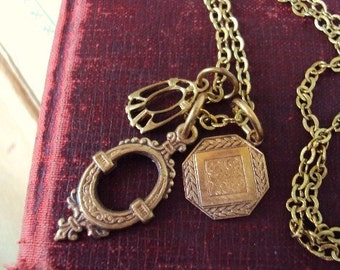 Vintage Style Medallion Charm Necklace Antique Gold Brass Art Nouveau Pendant Charms Gypsy Inspired Jewelry Victorian inspired