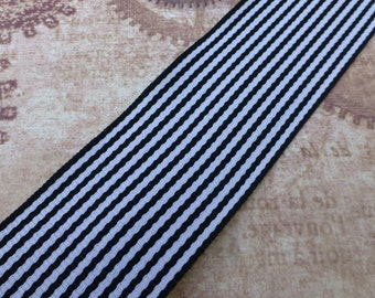 free shipping in UK - 2.5 Meters Black and White Ribbon 38mm Wide