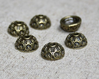 Antique bronze bead caps 40 pcs