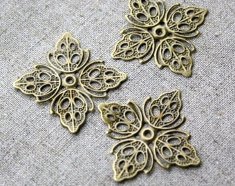 Pack of 15 Antique Bronze Filigree Component