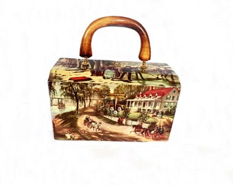 Vintage Decoupage Purse, 1970s Accessories, Hand Bag, Handbag, Handbag Purse, Vintage Handmade Purse, Victorian Accessories