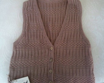Vintage Clothing Sweater Vest Women's Sweater Hand Knit Tan Brown NOS Size Medium Vest