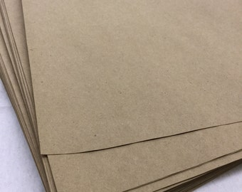 Full Sheet - 8 1/2 x 11 Inches - Printable Brown Kraft Recycled Paper - set of 100 - Crafting or Letterpress or Stamping