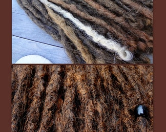 10 Brown Auburn Blend Knotty Dreadlock Extensions. Made to Order. Synthetic dreadlock extensions. Dread Extensions. Natural looking dreads.