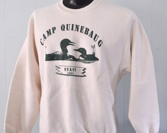 Vintage Sweatshirt by Lee Levis Camp Quinebaug Lake Ma Massachusetts 90s Staff Outdoors Nature Ducks Birds Science LARGE