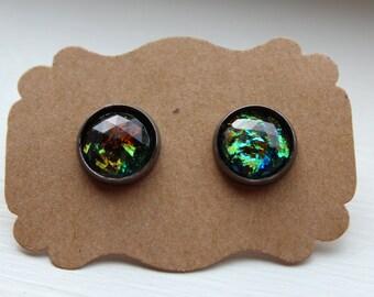 Black Fire Opal Earrings, Opal Earrings, Stud Earring, Gunmetal Post, Resin Fire Opal Post, Black Opal Earrings, Stud Earrings, Opal Jewelry