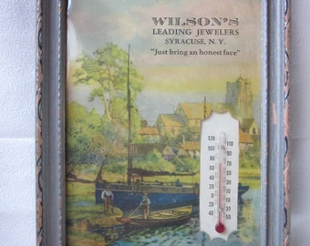 Vintage Advertising Framed Picture w/ Thermometer Wilson's Jeweler Syracuse NY