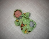 5LITTLEHEAD-HS-32 ) 5  inch Lil Cutesies Berenguer Little Head baby doll clothes, 1 flannel hooded sleeper with panties
