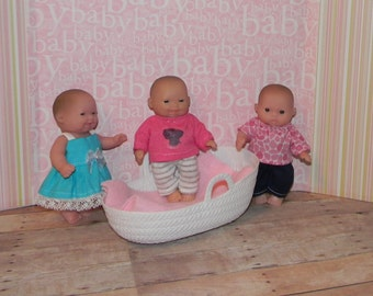 5LC3-40) 5 inch Lil Cutesies Berenguer baby doll clothes, 3 pk mix outfits