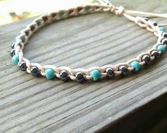 Anklet Gunmetal and Turquoise beads size choices