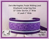 Jan's Martingales, Purple Walking Lead, Collar and Lead Combination, Greyhound, Large Dog Size, Pur160