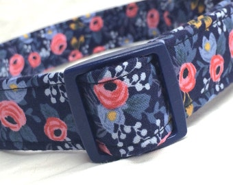 Rifle Paper Co. Dog Collar Les Fleurs Fabric Wedding Blue Rosa Floral Navy