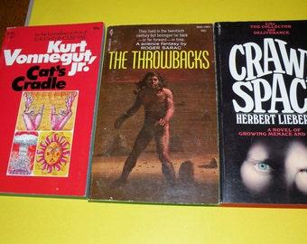 Vonnegut Jr. Cat's Cradle, Roger Sarac The Throwbacks, Herbert Lieberman Crawl-Space paper backs