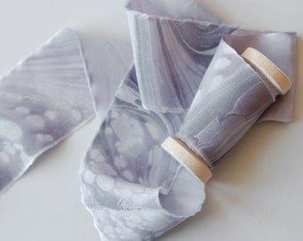Marbled Silk Ribbon in Amethyst