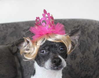 Pet  blond  wig with crown   for dog or cat