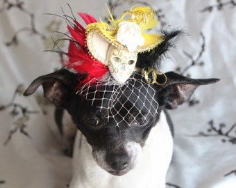 Cute  black color  mini  hat with   mask and feather    for dog or cat