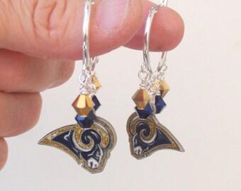 LA Rams Earrings, Rams Bling Hoops, Gold and Navy Crystal Pro Football Earrings, Football Rams Jewelry Accessory Fanwear
