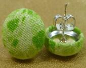 Green Goddess Print Fabric Button Earrings