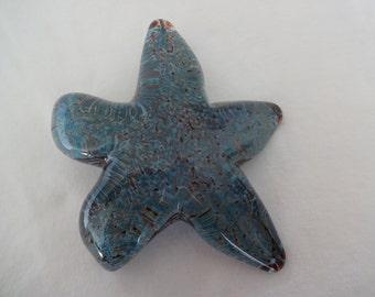 Copper and silver aqua red glass starfish creeping sea star hand blown glass