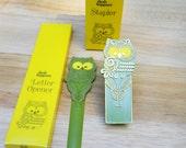 1970s Owl Desk Accessories Springbok Stapler letter opener Avocado Green