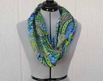 Green Pasley Print Infinity Silk  Scarf