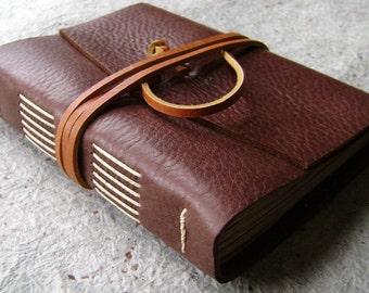 "Leather journal, 4""x 6"", rustic brown, handmade journal by Dancing Grey Studio (1936)"