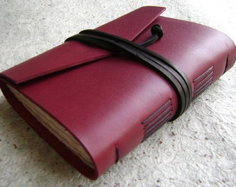 "Handmade leather journal, 4"" x 6"", red journal, handmade journal by Dancing Grey Studio(2086)"