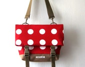 Polka Dot Red Foldover Crossbody bag, Canvas bag, Unisex Bag, Shoulder Bag
