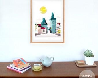 Large Art Print of Prague, Charles Bridge, Prague Skyline Prints Skyline, paper wall art poster, picture, office, bedroom, Style: LPP01