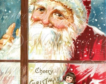 Old Fashioned Santa - Christmas / Holiday / Winter / Greetings - 8x10 Inch Digital Print / Printable Instant Download and Print