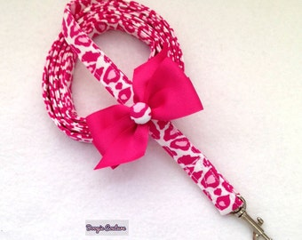 Pink Leopard Dog Leash With Bow 5' by Doogie Couture Pet Boutique