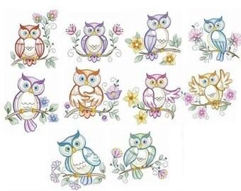 Embroidered  quilt blocks--Vintage Owls