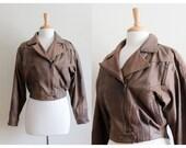 Vintage 1980s Brown Leather Cropped Moto Jacket