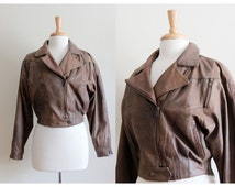 Vintage 1980s Brown Leather Cropped Moto Jacket