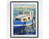 Boat Art Print Watercolor Painting, A Spanish seascape fishing boat Spain ocean sea village Aqua blue painting beach wall art Nautical scene