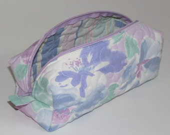 Quilted Boxy Zippered Pouch, Cosmetic Bag, Re-purposed Vintage Sheeting, Mauve Floral