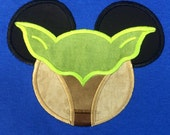 STAR WARS Movie Mr. Mouse ears  Master Yoda appliqued on a unisex short sleeved t-shirt children and adult sizes