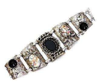 Foil Glass Engraved Silver Tone Cuff Bracelet