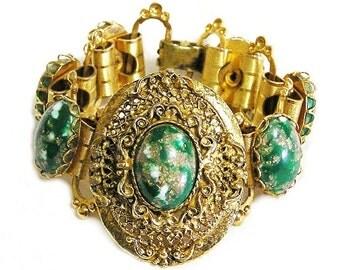 Green Marbled Cabochon and Gold Filigree Vintage Bracelet