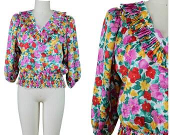 Floral Ruffle Blouse / Tropical Floral Ruffle Blouse / Resort Floral Silky Blouse / V Neck Ruffle Blouse / Festival Blouse / Summer Festival