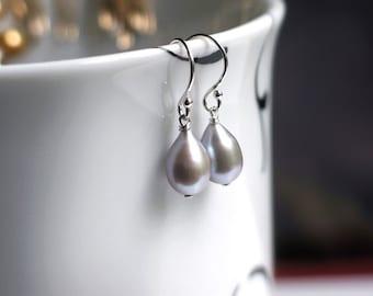 Gray Teardrop Pearl Earrings   Pewter Grey Freshwater Drop Pearls in Sterling Silver Dangles   Small Earrings   Wedding Gift   Made to Order
