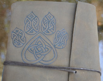 Handmade Leather Journal with Celtic Style Wolf Footprint Free Personalization