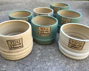 Ceramic Planter, Flower Pot, Stoneware Planter, Personalized Planter, Teacher Gift,  Stoneware Flower Pot, jclaypottery, Handmade Pottery