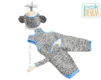 Sock Monkey Hat and Romper with Tail for Newborn Babies READY to SHIP Handmade Photo Prop