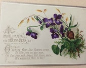 "Violet flowers New Year verse, Victorian card Jan/85 (1885) approx  4.5"" x 3"" size"