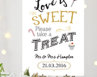 Love is sweet, take a treat vintage Wedding sign A4 metal vintage chalkboard style wedding decoration