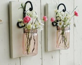 New...Shabby Chic Wall Decor...Individual Hanging Pink Jars...Set of 2 or 3.. Your choice of Color