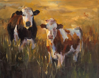 Cow Painting Two Cows in a Golden Field -  print of an original painting on paper by Cari Humphry